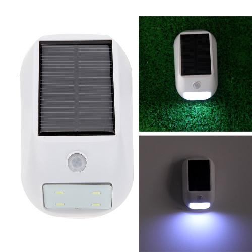 PIR Infrared Motion & Light Sensor 4 LED Solar Powered Panel Security Wall Light Lamp Super Bright Automatic Outdoor Camping
