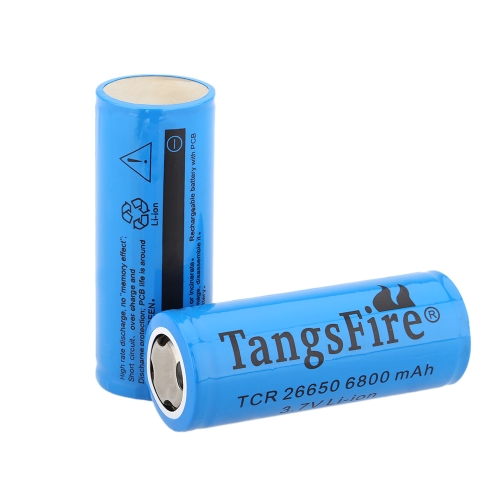 TangsFire 2pcs 26650 3.7V 6800mAh Rechargeable Li-ion Battery with PCB Protected Board