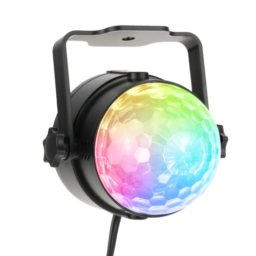Lixada Auto Sound Activated 3W RGB LED Mini Crystal Magic Rotating Ball Effect LED Stage Lights for KTV Xmas Party Wedding Show Club Pub Disco DJ