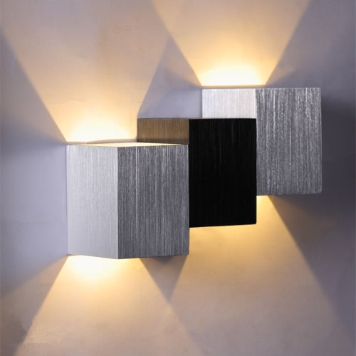 2W 85-265V AC Modern Fashion Square Shaped Aluminum LED Wall Light