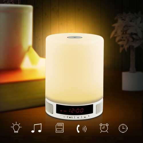 Multifunctional Portable Wireless BT Speaker Music Sound Box with Alarm Clock Function LED Table Touch Lamp