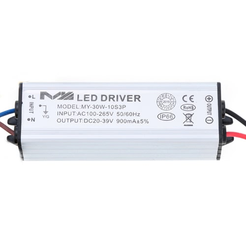 100-265V AC to 20-39V DC 30W LED Driver AC/DC Adapter Transformer Switch Power Supply IP66 CE RoHs