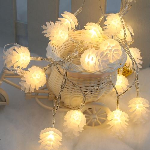 2.2M 20 LED caliente blanco Pinecone lámpara hada luz de la cadena