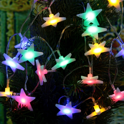 Lixada 2.1M 20 LED Multi Color Five-pointed Flat Star Lamp Fairy String Light for Party Wedding Christmas Home Room Decor Gift