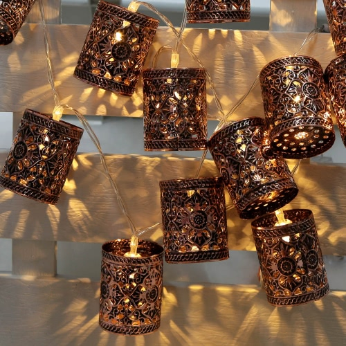 Lixada 2.1M 20 LED Warm White Retro Vintage Metal Iron Hollow Cage Lantern Lamp Fairy String Light for Party Christmas Home Room Decor Gift