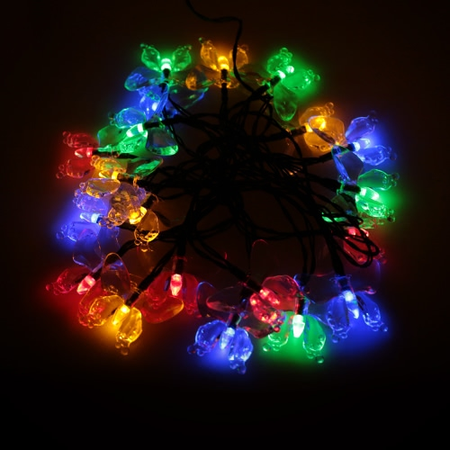 Outdoor Garden Solar Powered 4.7M 20 LED Multi Color Butterfly Light Contriol String Lamp for Party Wedding Home Decoration