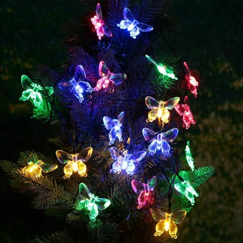 Jardín al aire libre Solar Powered 4.7M 20 LED Multicolor Mariposa Luz Contriol String Lamp