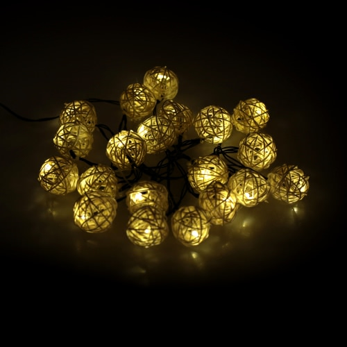 Lixada Outdoor Garden Solar Powered 4.6M 20LED Warm White Vine Ball Globe Light Control String Lamp Fairy Lights for Party Wedding Room Decor