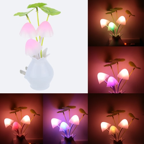 220V AC Dreamy LED Night Light Mushroom Potting Lamp Light Sensor Romantic Colorful Home Party Decor CE RoHs