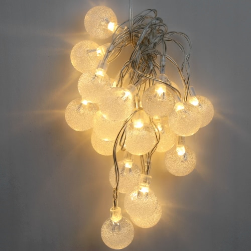 2.2M 20 LED Warm White Crystal Ball Globe Bubble String Lamp Fairy Light for Party Wedding Home Decor Christmas Gift