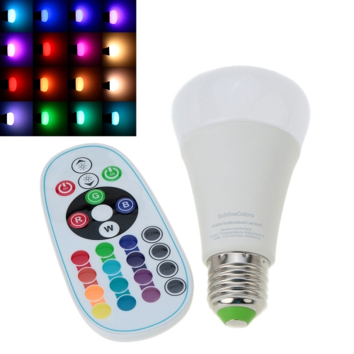 E27 10W 110-240V AC RGBW Colorful LED Bulb Light Stage Lamp Remote Control Color & Brightness Adjustable Home Indoor Decor Lighting CE RoHs