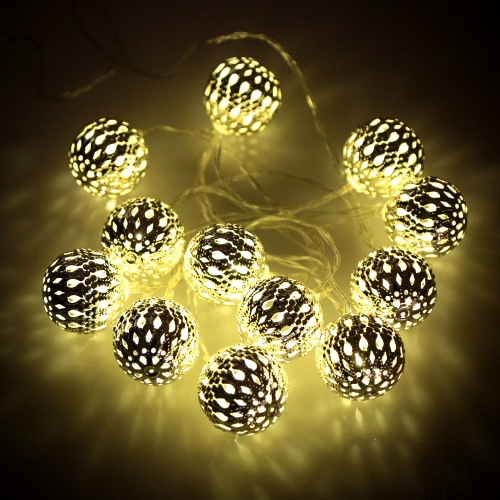 Outdoor Garden Solar Powered 4M 12 LED Warm White Garland Hollow Ball Globe Light Control String Lamp Fairy Lights for Party Wedding Christmas Room Decor