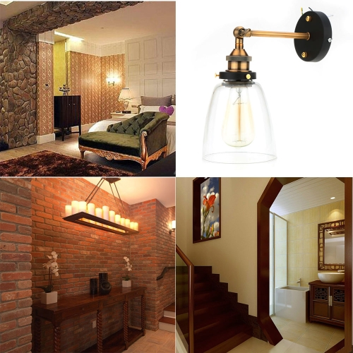Lixada Vintage Glass Wall Sconces Rustic Country Wall Lamps Retro Mounted Wall Bedroom Stair Mirror Lamps E27