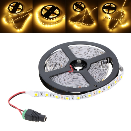 LED Warm White Strip Light SMD 5050 Flexible Light 60LEDs/m 5m/lot with 12V 5A Adapter for Bar Hotel Restaurant