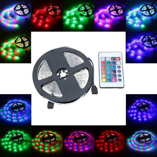 Lixada SMD 3528 Fiexble Light 60LEDs/m 5m/lot  LED RGB Strip Light with 24key RF Remote Controller and 12V 2A Adapter  for Bar Hotel Restaurant– TOMTOP