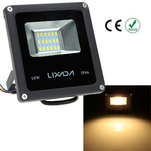 Lixada Real Power 10W High Power Factor Greater than or Equal to 0.95 IP66 Water Resistant LED Flood Light 85-265V for Gardern Outdoor Illumination