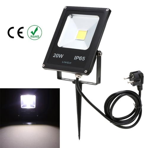 Lixada фактическая мощность 20W IP65 водонепроницаемый LED Лампа Прожектор с US разъемом и столбом 85-265V для сада наружного освещения