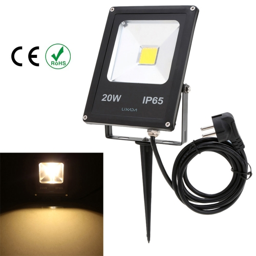 Lixada Real Power 20W IP65 Water Resistant LED Flood Light Lamp with US Plug Inserting Bracket 85-265V for Garden Outdoor Illumination