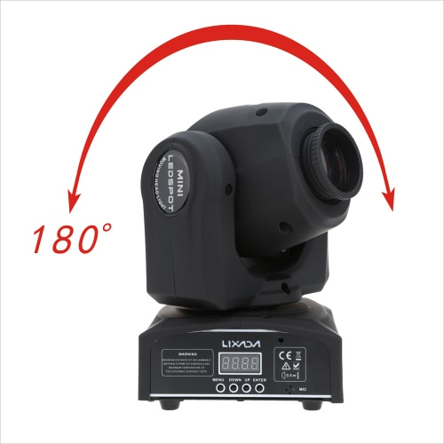Lixada DMX-512 Mini Moving Head Light 8 Color Changings LED Stage Light  with Shapes Automatic Professional 9/11 Channel Party Disco Show 25W AC