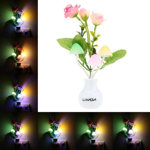 Lixada LED Color Change Light Sensor Energy Saving Mushroom Purple Rose Flower Plant Potted Bed Decor Night Lamp Home Illumination