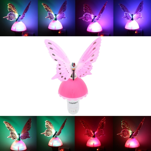Lixada RGB Color Changing LED Fiber Optical Light Sensor Butterfly Night Light Lamp for Children Bedroom
