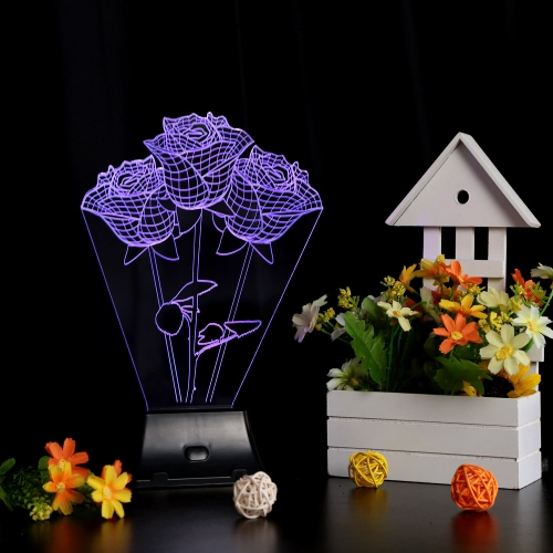 Lixada 3D LED Lamp Light USB Rose Colorful Night Light for Wedding Deco Innovative Christmas Gift