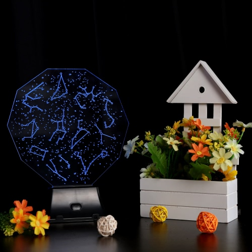 Lixada 3D LED Lamp Light USB Constellation Sky Colorful Night Light for Wedding Deco Innovative Christmas Gift Present