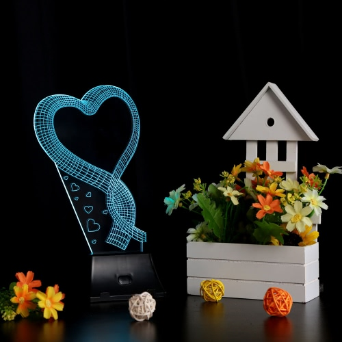 Lixada 3D LED Lamp Light USB Loving Heart Colorful Night Light for Wedding Deco Innovative Christmas Gift Present