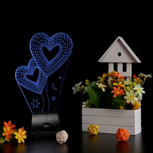 Lixada 3D LED Lamp Light USB Heart to Heart Colorful Night Light for Wedding Deco Innovative Christmas Gift Present