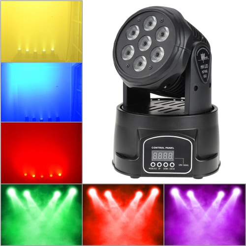 Lixada DMX-512 Mini Moving Head Light 4 In 1 RGBW LED Stage Light Lighting Strobe Professional 9/14 Channels Party Disco Show 100W AC 100-240V Sound Active