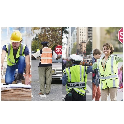 LA-2018 Reflective Safety Vest High Visibility Safety Vest Bright Neon Color Breathable Vest with Reflective Strips for Construction sanitation Worker Roadside Emergency M Size