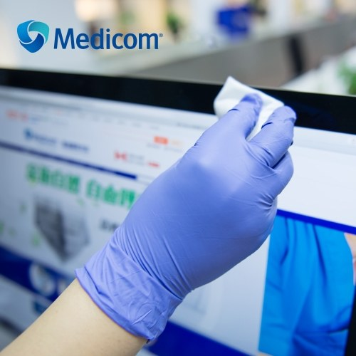Medicom 1191C 100Pcs Disposable Nitrile Rubber Glove Powder Free Strong Stretchy Gloves Pockmark Fingertip for Laboratory Testing Scientific Research Medical Use