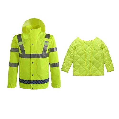 Sicherheitsregenjacke mit Steppjacke Wasserdicht Reflektierend Hohe Sichtbarkeit mit abnehmbarer Kapuze Sicherheitsregenmantel Verkehrsjacke für Erwachsene Gelb Größe M