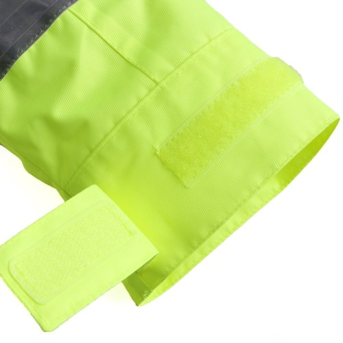 Safety Rain Jacket High Visibility Waterproof Reflective Raincoat with Detachable Hood Safety Raincoat Traffic Jacket for Adult Yellow Size M