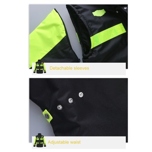 5-In-1 Safety Rain Jacket High Visibility Waterproof Reflective Raincoat with Cotton Coat Detachable Hood Adjustable Safety Raincoat Traffic Jacket for Adult Yellow Size M