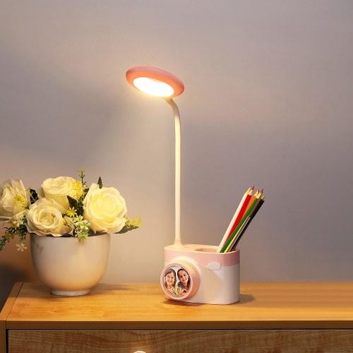 Lámpara de mesa de escritorio multifuncional Forma de cámara Luz nocturna LED Protección de los ojos Luz de lectura con portalápices