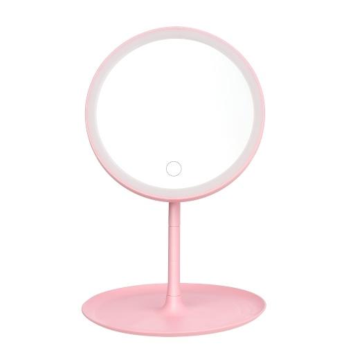 Espelho de maquiagem redondo recarregável com interruptor de tela de luz L-ED Espelho de maquiagem de mesa com base removível