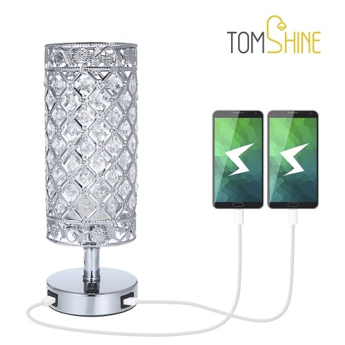 Tomshine Crystal Beside Table Lamp Decorative Desk Light with Dual USB Charging Port Modern Nightstand Lamp for Bedroom Living Dining Room Office