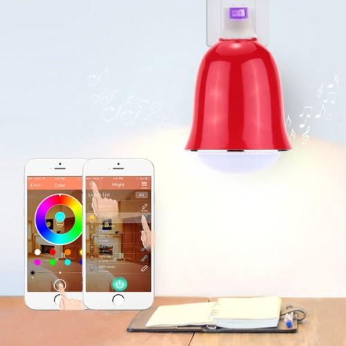 Uso de Samsung Galaxy Smartphones App Control multicolor luminosos interior de 6s/Plus 5W E26/E27 Smart BT RGB y blanco RGBW LED Bombilla luz BT altavoz música lámpara brillo/volumen ajustable para iPhone