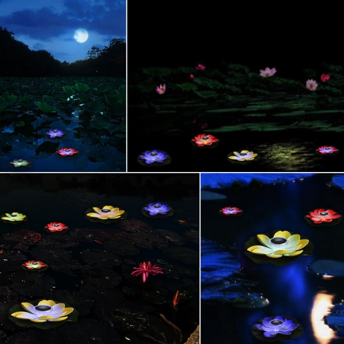 Image of 0.1W Solar Powered Multi-colored LED Lotus Flower Lamp