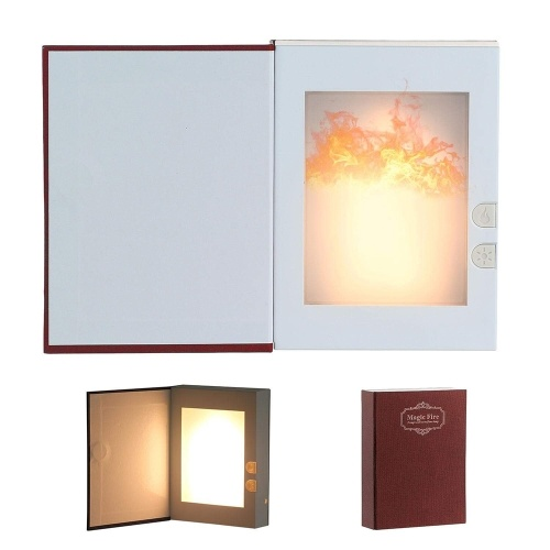 TOMTOP / Flame Effect Night Light USB Rechargeable Book Shaped Lamp