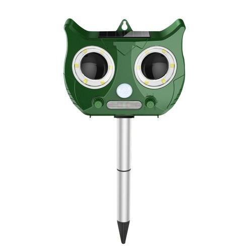 Solar Ultrasonics Pest Repeller Outdoor Weatherproof PIR Sensor Animal Repellent with Flashing LED Light