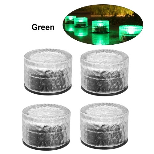 4Pcs Solar Glass Brick Lights Round Buried Light Ground Lamp IP65 Water-resistant Outdoor Landscape Lighting