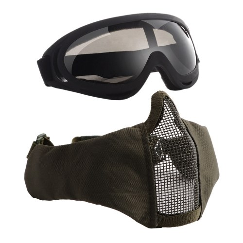 V12+X400 Half-face Mesh Mask & Goggle Set
