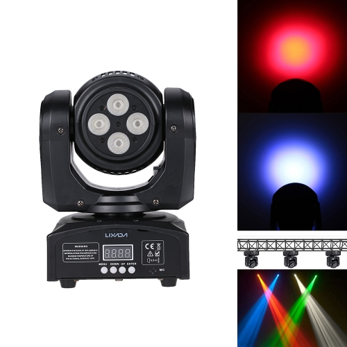 Lixada 80W 8LEDs RGBW Double Sides Wash Moving Head Stage Light