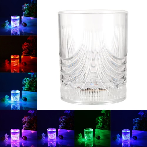 200ml LED Light Up Glass Glowing Flashing Liquid Sensing Multicolor Plastic Tumbler Wine Mug Cup Beer Whisky Drinkware Pub Party Indoor Use