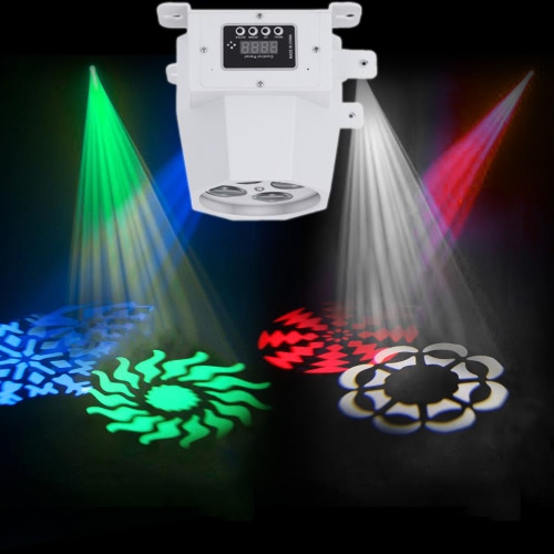 15W 8 Channels 4LEDs RGBW Color Change Mini Pattern Stage Light Effect Lamp Support DMX512 Auto Run Sound Activation for KTV Disco Club Bar Party