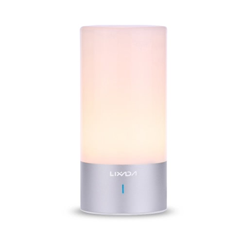 Lixada LED Atmosphere Bedside Lamp, 3-Level Warm White, 256 Colors RGB Changing, Aluminum Base Dimmable Desk Light with Touch Sensor, 360˚ Illumination Mood Night Light