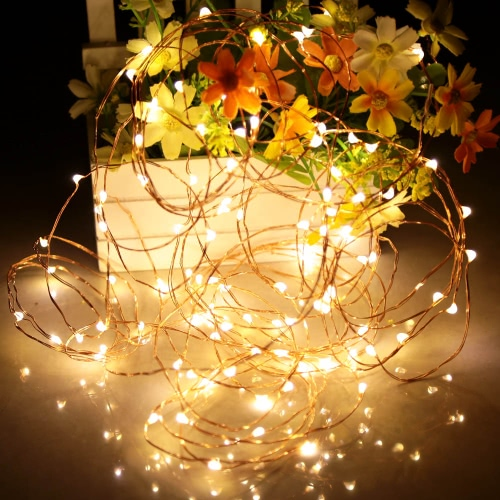 Tomshine 10M/33FT 100LEDs Starry Copper Wire String Extra Thin Bendable Flexible Warm White Light Strip Christmas Holiday Festival Decorations US Plug