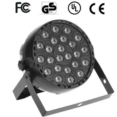 24W AC90-240V 24 LEDs RGB Flat Par Light Channel 1/2/3/4/5/6/7 Stage Effect Light DMX 512/ Sound Activated/ Master Slave/ Auto Run/ for Disco Stage Bar DJ Club Home KTV Show Par Lamp
